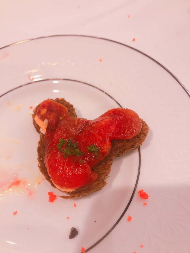 Roasted Watermelon and Pimento Goat Cheese on Pumpernickel, shaped like Mickey Mouse